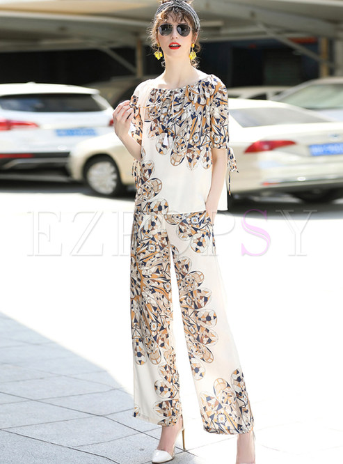 Retro Printing Lacing Tie Two-piece Outfits