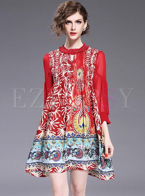 Ethnic Print Plus Size Shift Dress