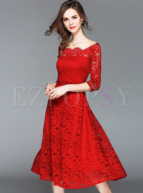 Red Slash Neck Lace Dress