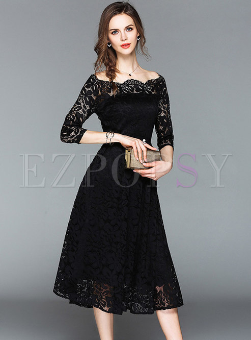 Off-the-shoulder Swing Lace Midi Cocktail Dress