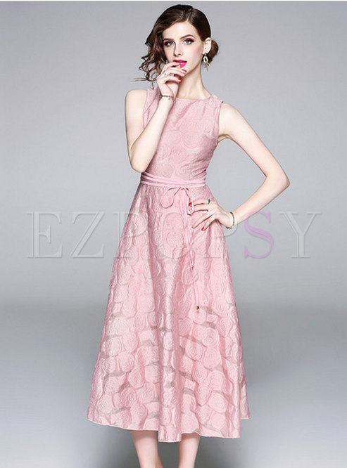 Pink Jacquard Sleeveless Belted A Line Dress