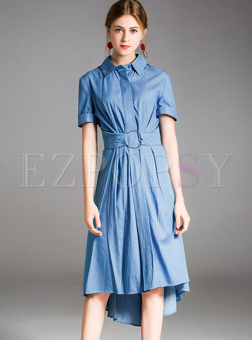 c1cbddeb9db45 Skater Dresses.   Light Blue Silk Asymmetric Waist Shirt Dress