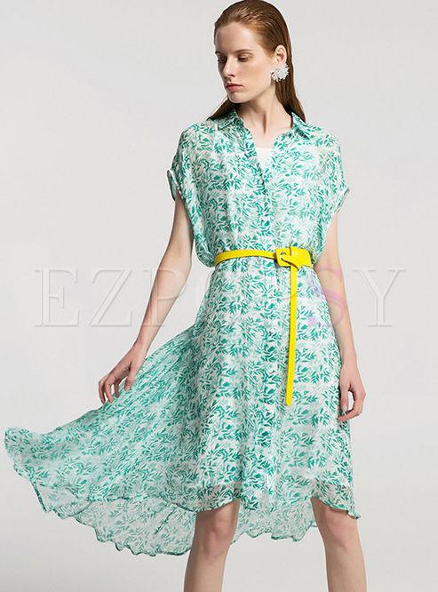 24540f654a435 Skater Dresses.   Green Asymmetric Silk Printt Shirt Dress