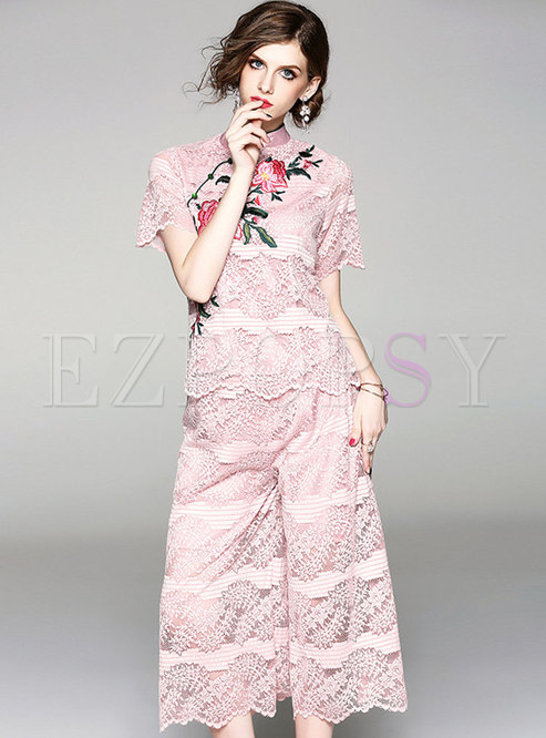 Pink Lace Embroidery Two-piece Outfits