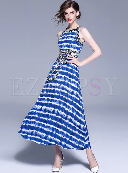 Blue Striped Sleeve Belted Maxi Dress
