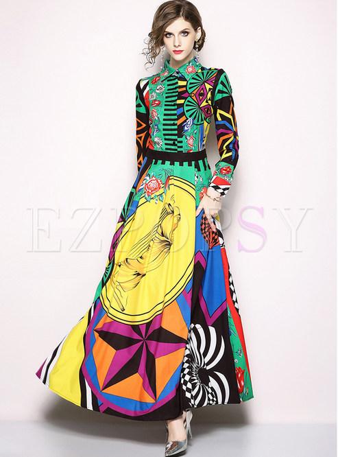 Chic Color-block Lapel Long Sleeve Maxi Dress