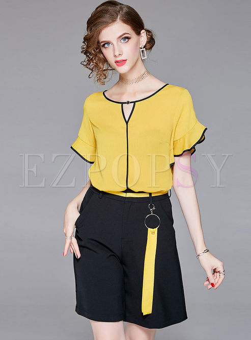 650d5d1075 Two-piece Outfits.   Yellow Falbala Chiffon Top   Black Wide Leg Shorts