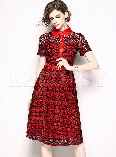 4bb02951d66c Skater Dresses.   Wine Red Lapel Short Sleeve Lace Midi Dress