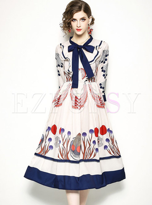 Elegant Printed Three Quarters Sleeve Midi Dress