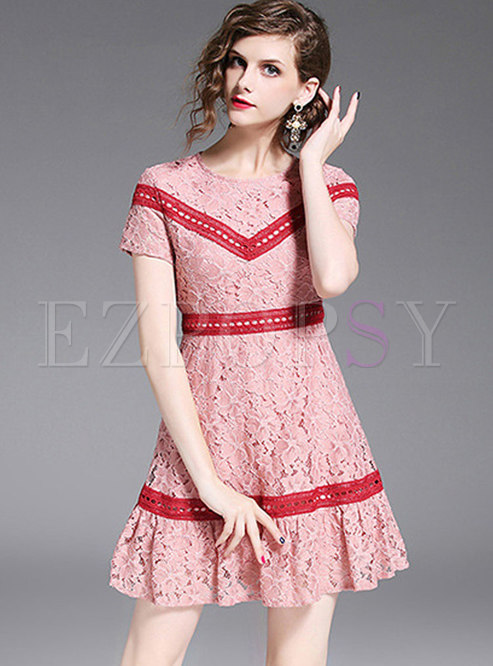 Lace Hollow Out Short Sleeve Mini Dress