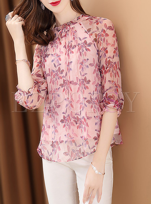 00a782cfb33712 Blouses.   Pink Floral Print Loose Silk Blouse