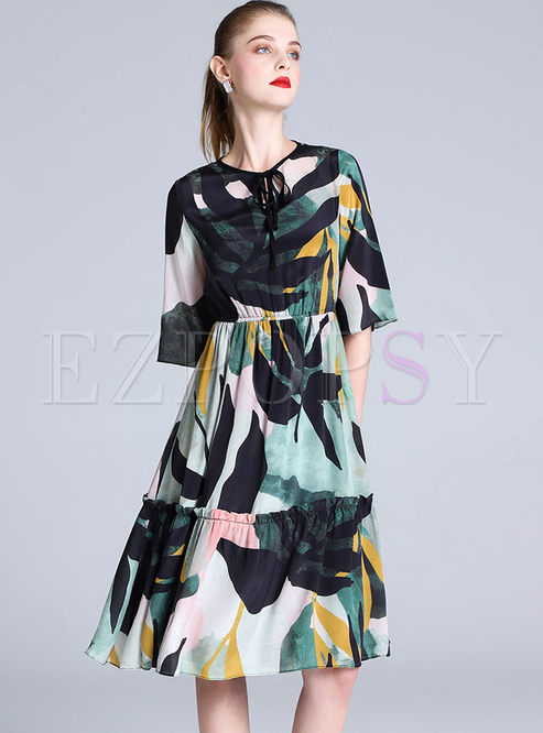 Silk Print Tied Big Hem A Line Dress