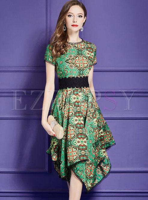 Green Street Asymmetric High Waisted A Line Dress