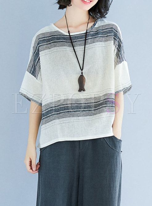 Fashion Striped Half Sleeve T-shirt