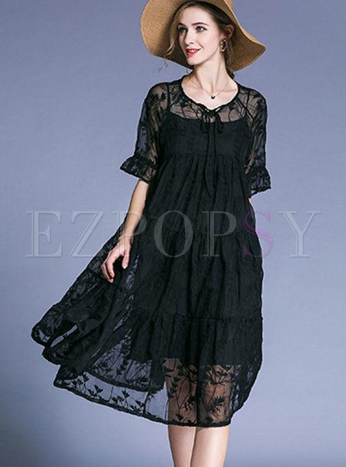 Dresses Shift Dresses Black Elegant Embroidery Plus Size Dress