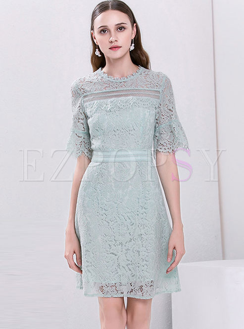 04a40951f25f Skater Dresses.   Light Green ...