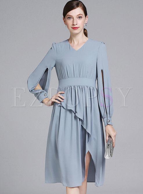 41e8037f710e Skater Dresses.   Light Blue Elegant Long Sleeve ...