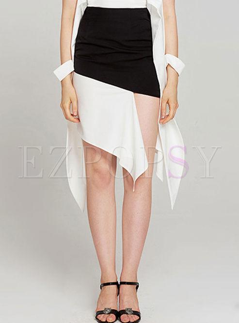 Trendy Asymmetric Splicing Sheath Skirt