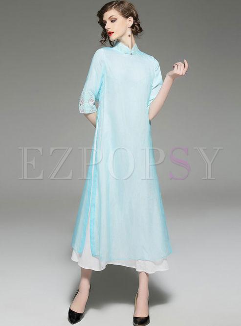 Light Blue Elegant Embroidered Long Shift Dress With Underskirt