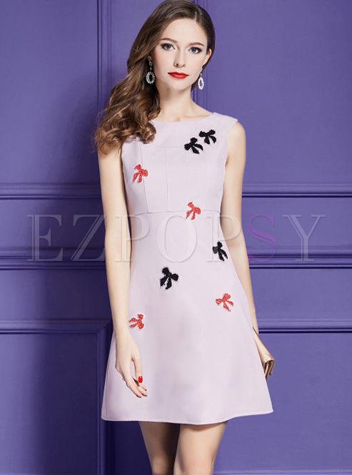 Pink Elegant Sleeveless Beaded Bowknot A Line Dress