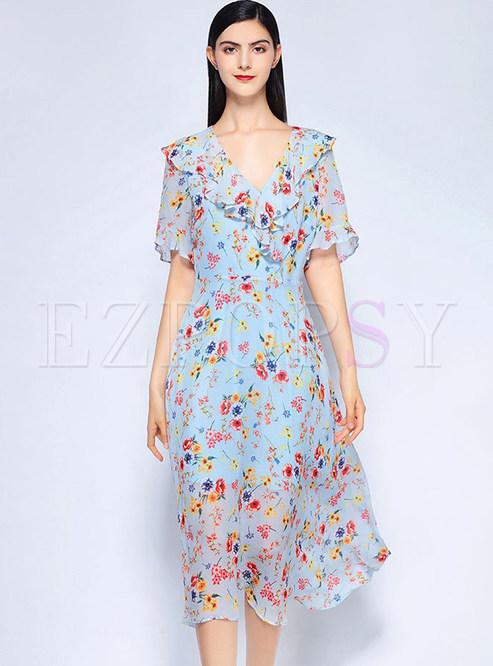 2df4657ced Skater Dresses.   Blue Flower Print V-neck Midi Dress