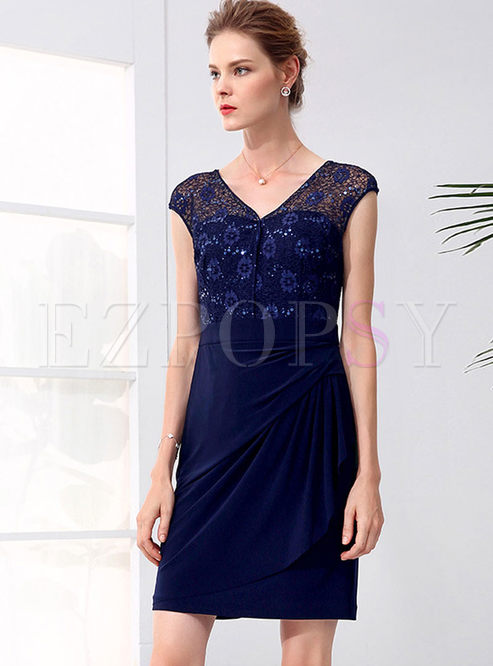 d200753b67c7 Bodycon Dresses.   Deep Blue V-neck ...