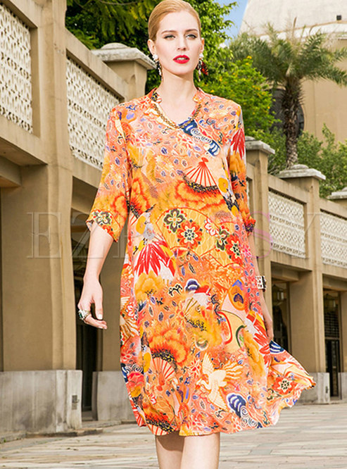 Ethnic Nail Drill Silk Shift Dress