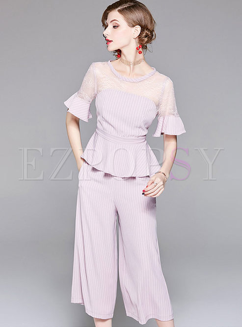 Pink O-neck Lace Stitching Top & Striped Wide Leg Pants