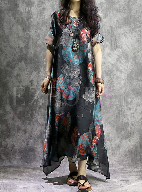 Retro Print Long Rolled Sleeve Maxi Dress With Camis