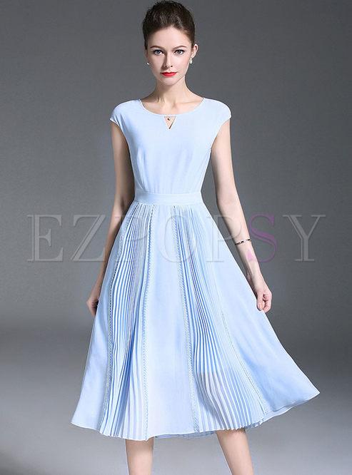 Dresses Skater Dresses Light Blue Chiffon Waist