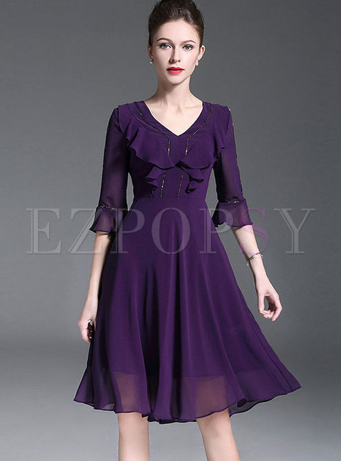 Elegant Flouncing Flare Sleeve Chiffon Skater Dress