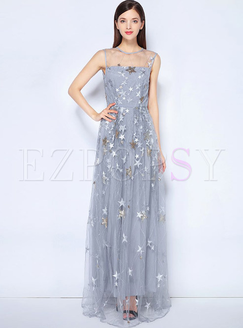 Grey Star Pattern Perspective Prom Dress | Ezpopsy.com