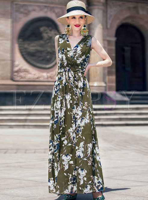 Elegant Flower Print Sleeveless Maxi Dress