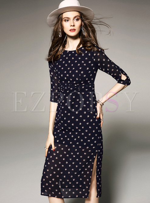 e84cba04ff Skater Dresses.   Black Polka Dots Print Midi Dress
