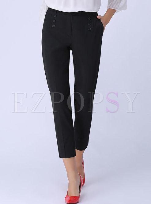 Black Mid-rised Straight Plus Size Pants
