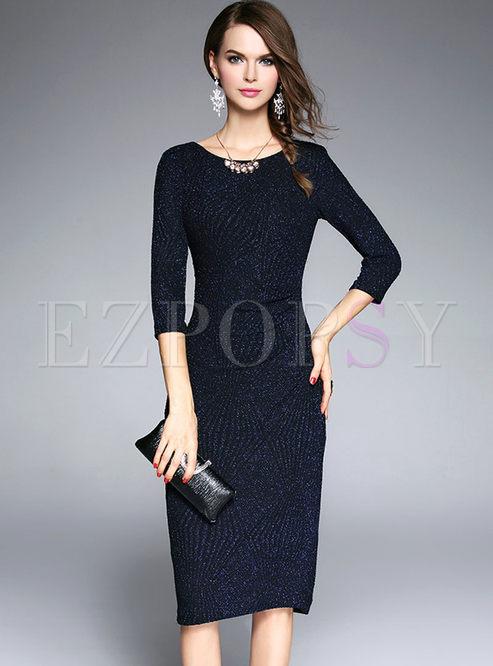 23df7642bf9 Skater Dresses.   Navy Bling Three-quarter Sleeve Plus Size Cocktail Dress