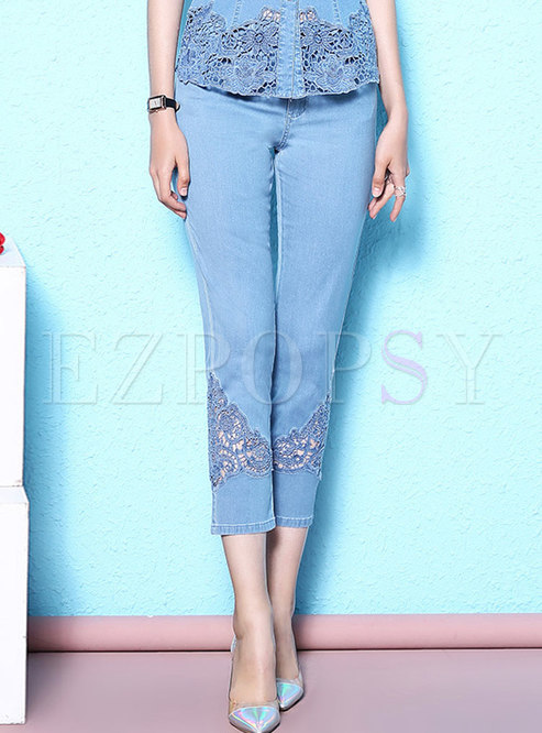Lace Stitching Slim Denim Pencil Pants