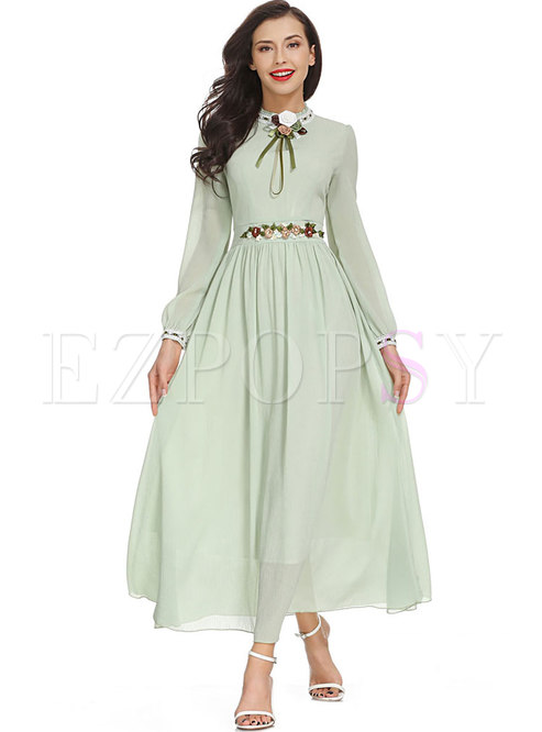 Light Green Stereoscopic Flower Chiffon Maxi Dress