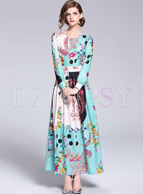 Floral Print Lantern Sleeve Maxi Dress
