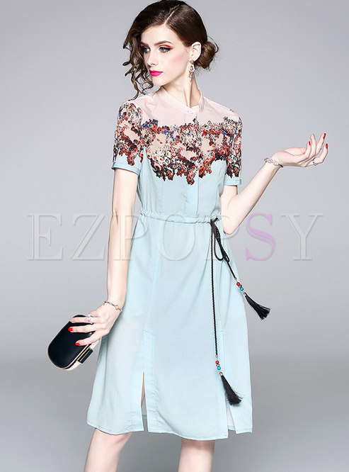 Stylish Lacing Stand Collar A Line Dress
