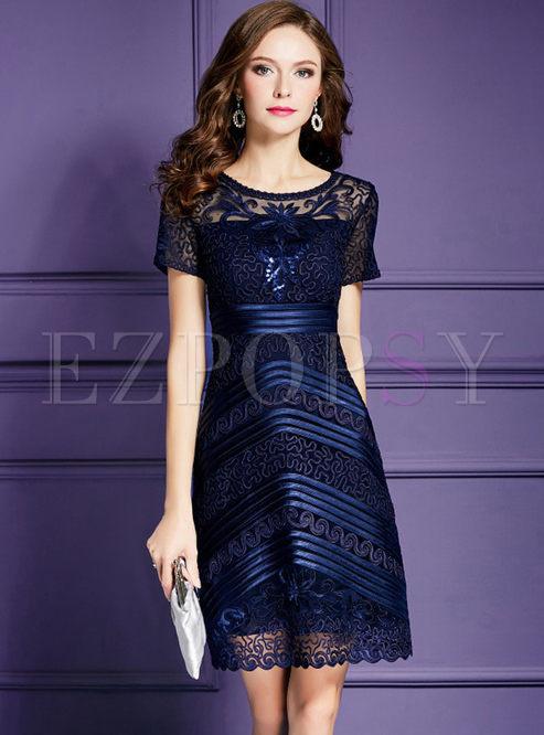 Dresses Skater Dresses Deep Blue Spangle Embroidery Plus Size