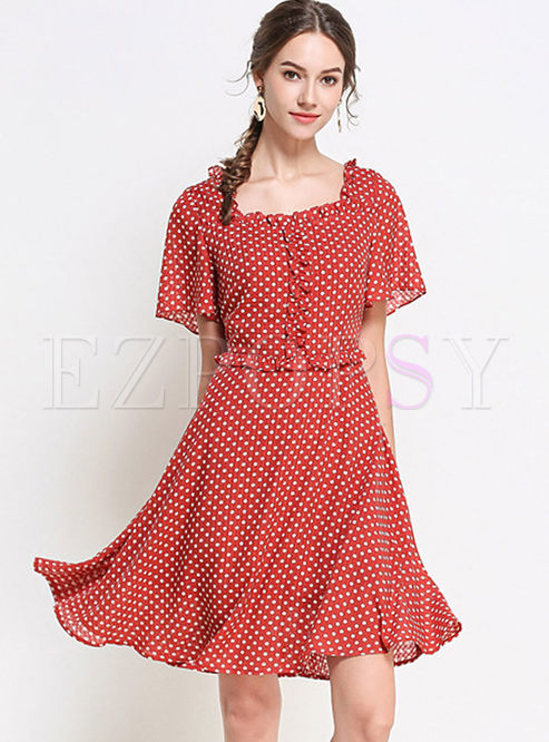 Red Square Sleeve Plus Size Skater Dress Ezpopsy