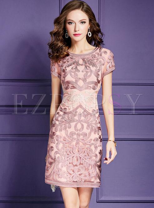 Pink Elegant Slim Embroidery Formal Dress