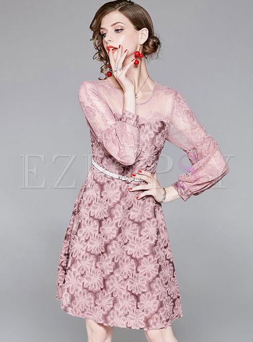Pink Mesh Puff Sleeve A Line Dress