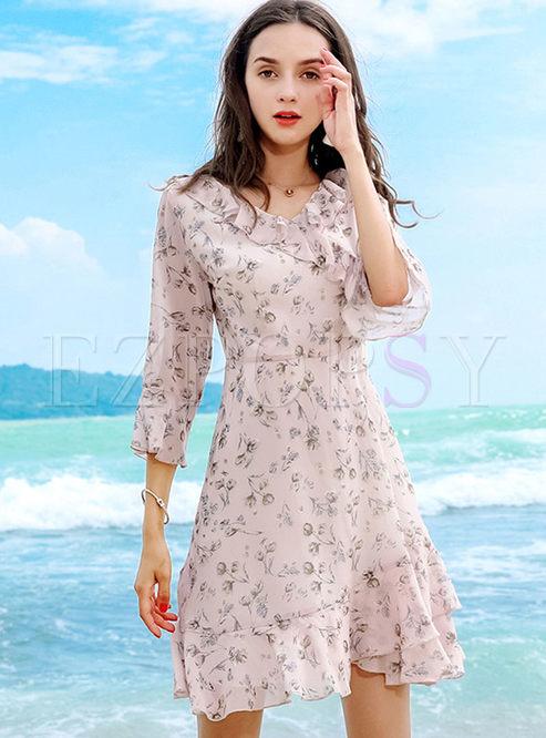 Chic Flare Sleeve Print Chiffon A Line Dress