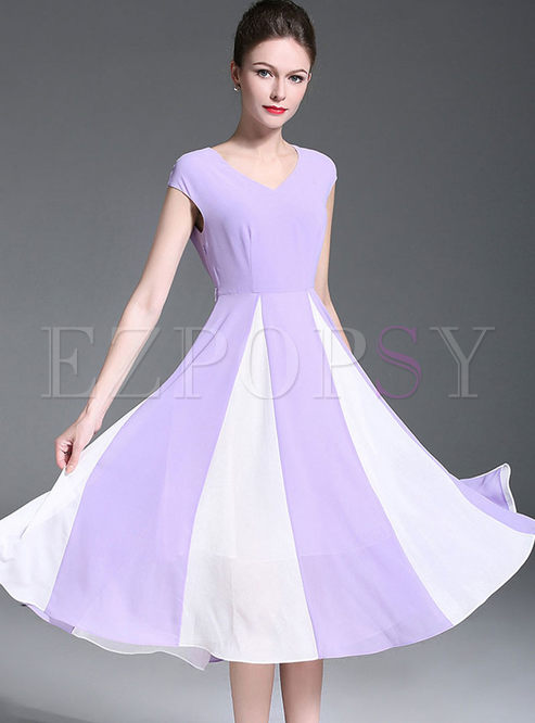Purple Chiffon V-neck Splicing Big Hem Dress