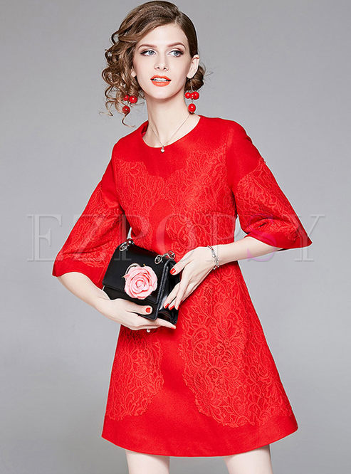 Elegant Pure Color Round Neck Formal Dress