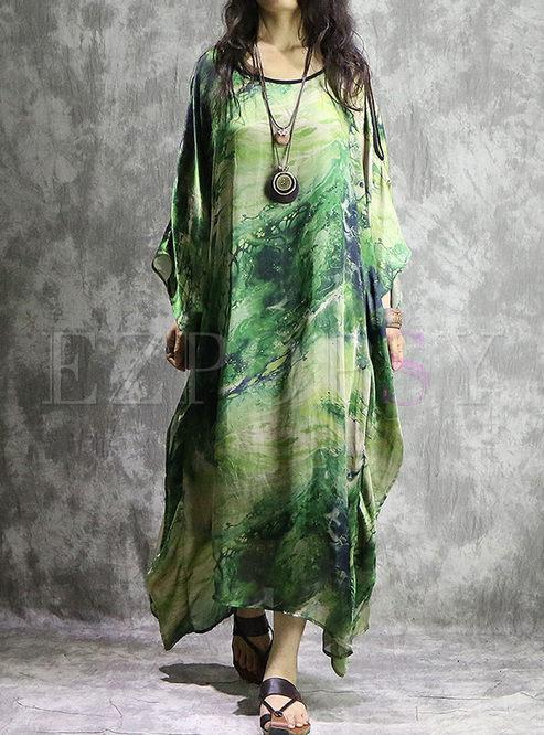 7cf69d5a13ba Maxi Dresses.   Green Silk Loose Long Sleeve ...