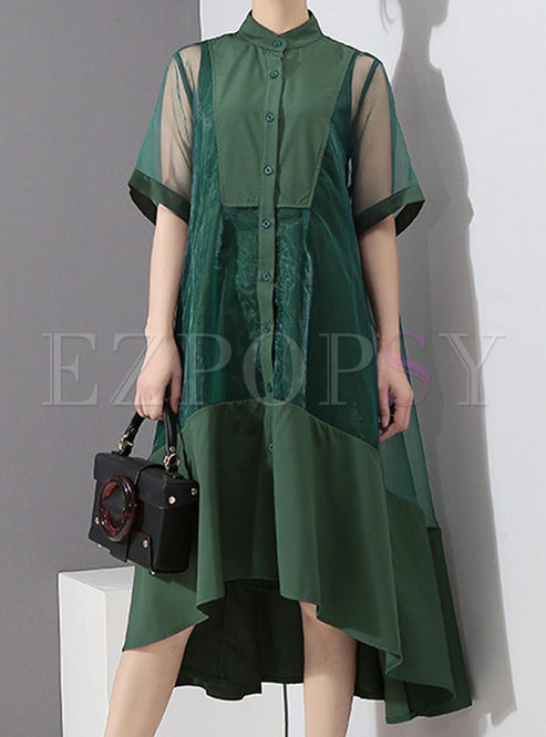 Green Single-breasted Big Hem Dress With Slip Dress