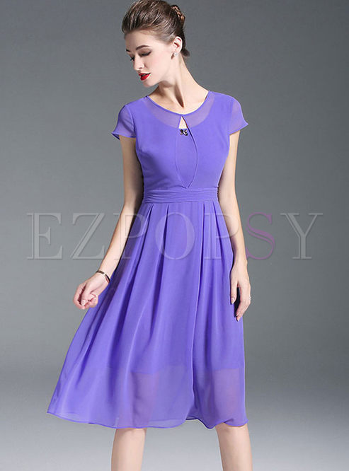 Purple Waist Short Sleeve Chiffon Skater Dress
